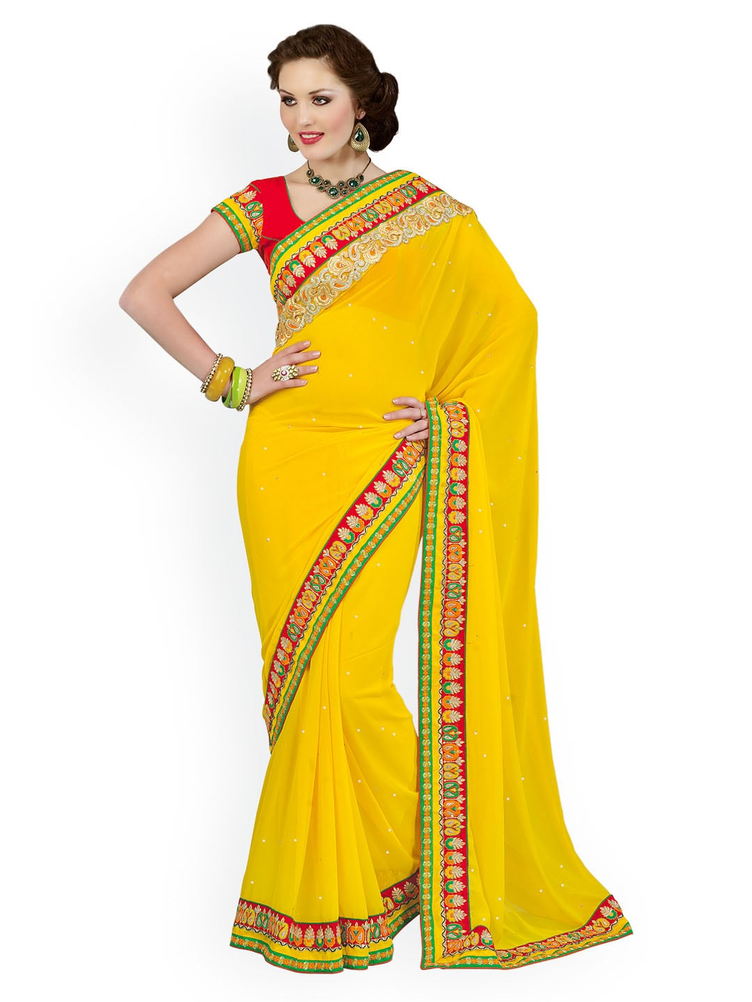 Chirag Sarees Chirag Sarees Yellow Chiffon Fashion Saree (Multicolor)