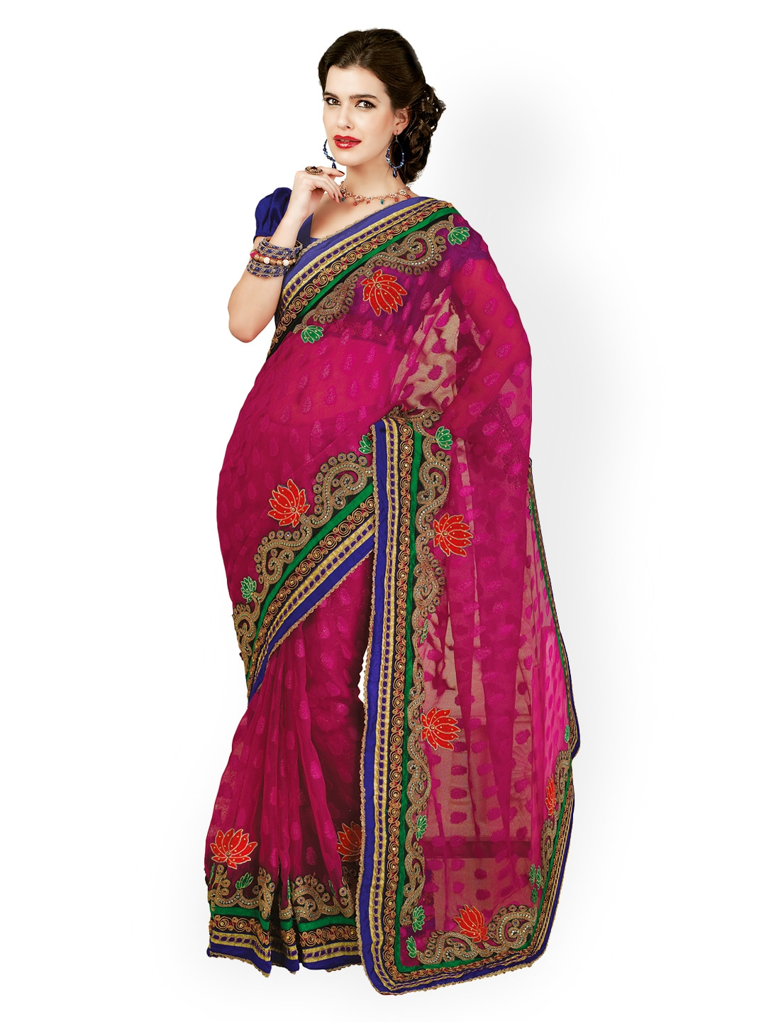 Chirag Sarees Chirag Sarees Magenta Embroidered Net Fashion Saree