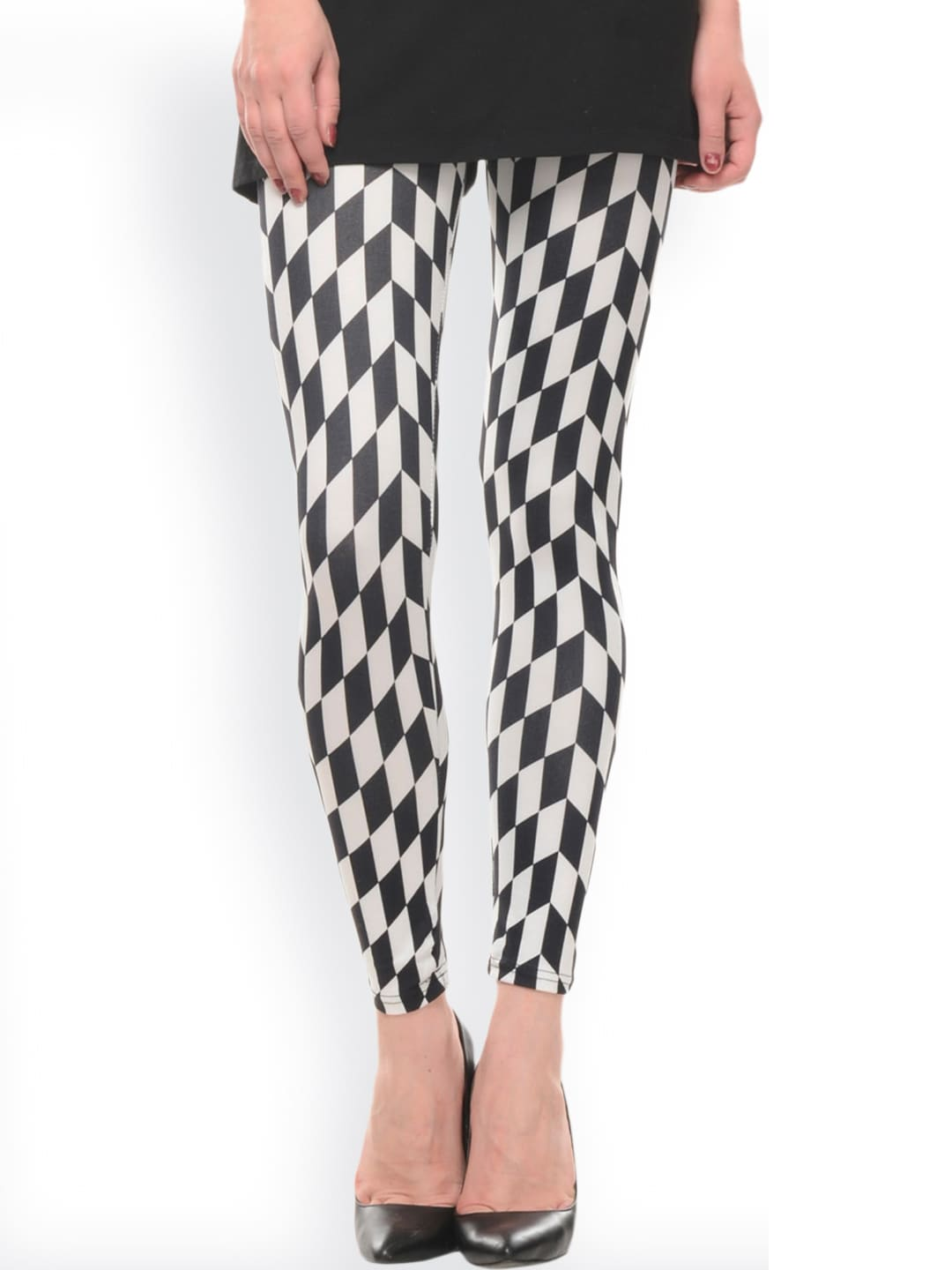 Senora Senora Women Black & White Checked Ankle-Length Leggings (Multicolor)
