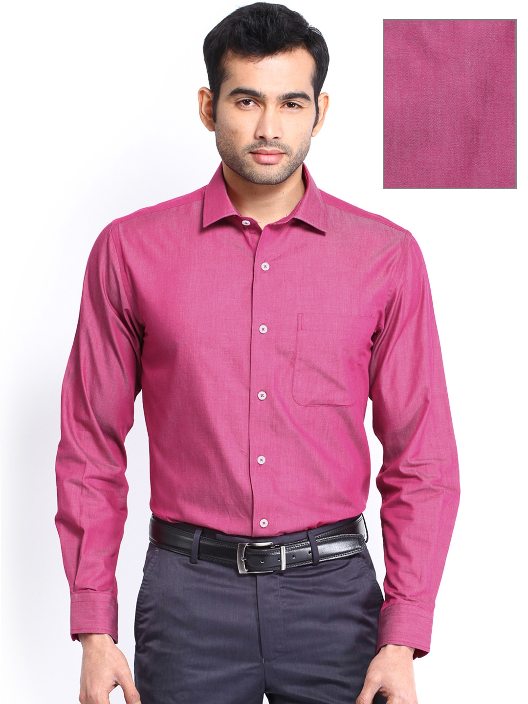 Buy Peter England Men Dark Pink Slim Fit Formal Shirt - Shirts for ...