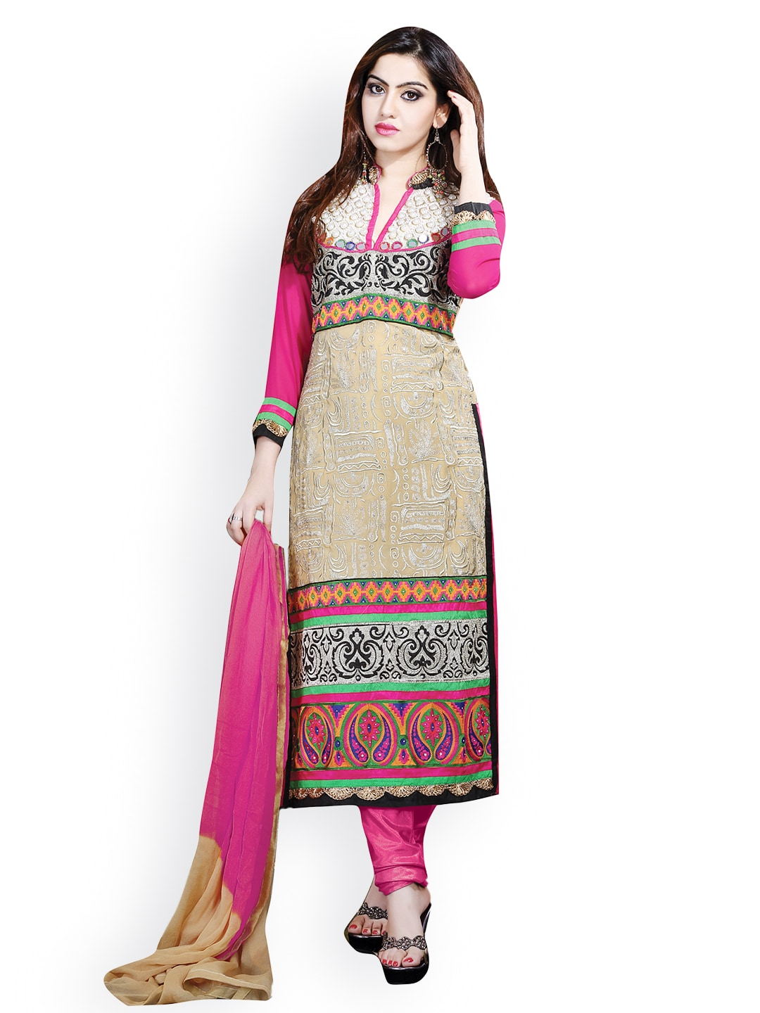 Lifestyle 7 Colors Life Style Beige & Pink Georgette Semi-Stitched Dress Material (Beige\/Sand\/Tan)