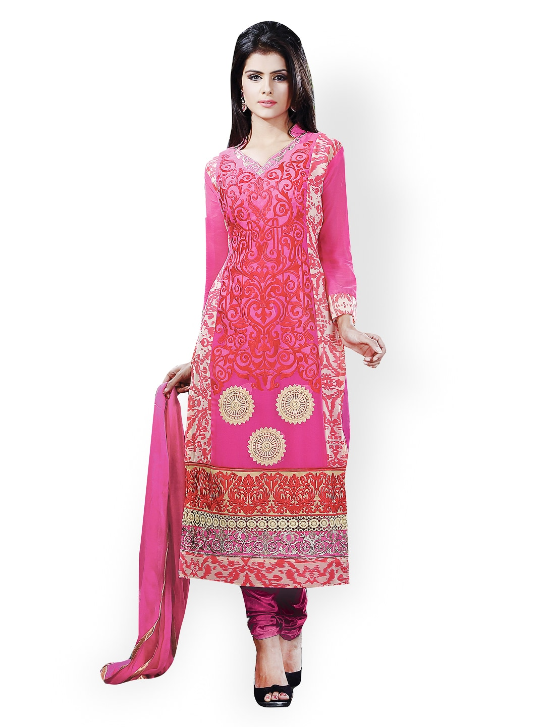Lifestyle 7 Colors Life Style Pink Georgette Semi-Stitched Dress Material (Multicolor)