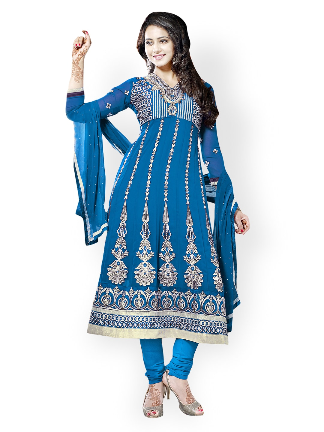 Lifestyle 7 Colors Life Style Blue Georgette Semi-Stitched Dress Material