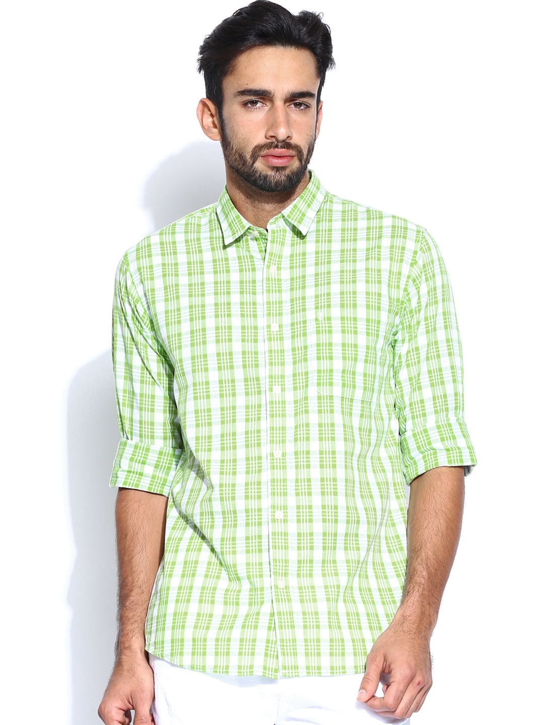 IZOD Men Green & White Slim Fit Casual Shirt