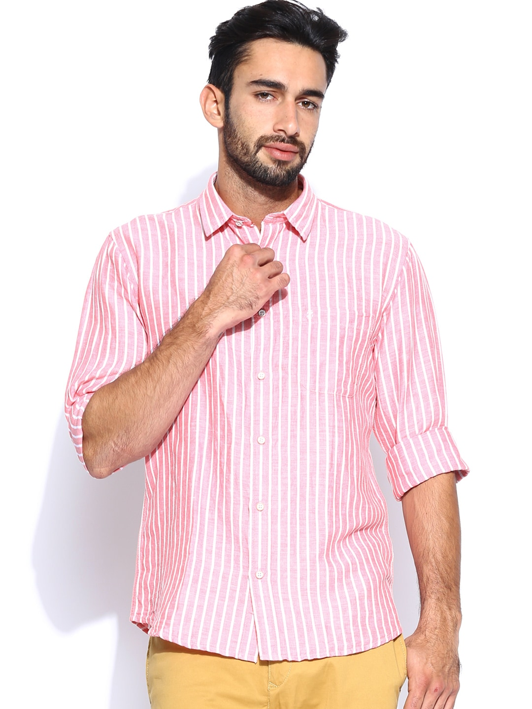 IZOD Men Pink & White Striped Linen Slim Fit Casual Shirt