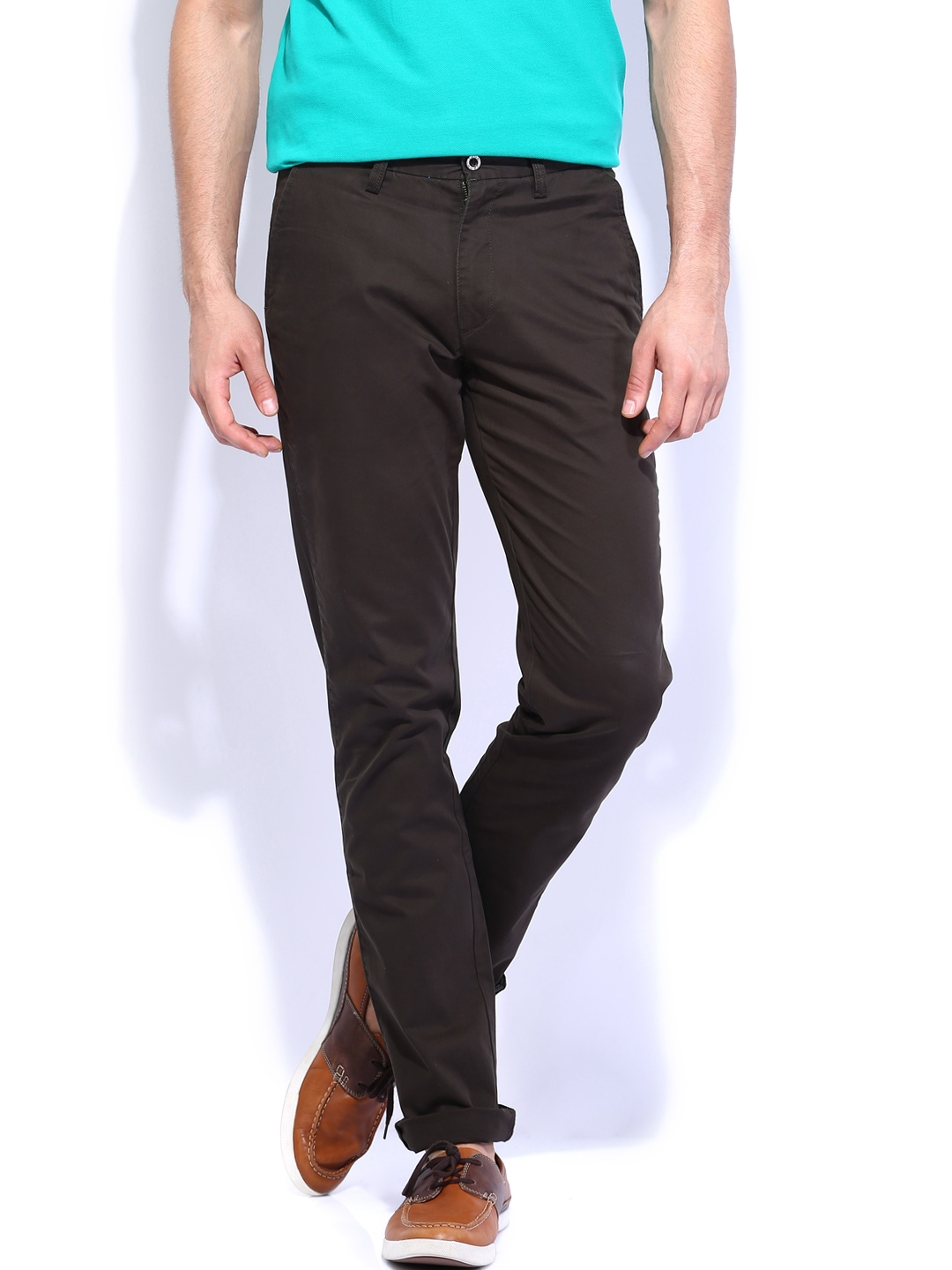 IZOD Men Coffee Brown Slim Fit Trouser