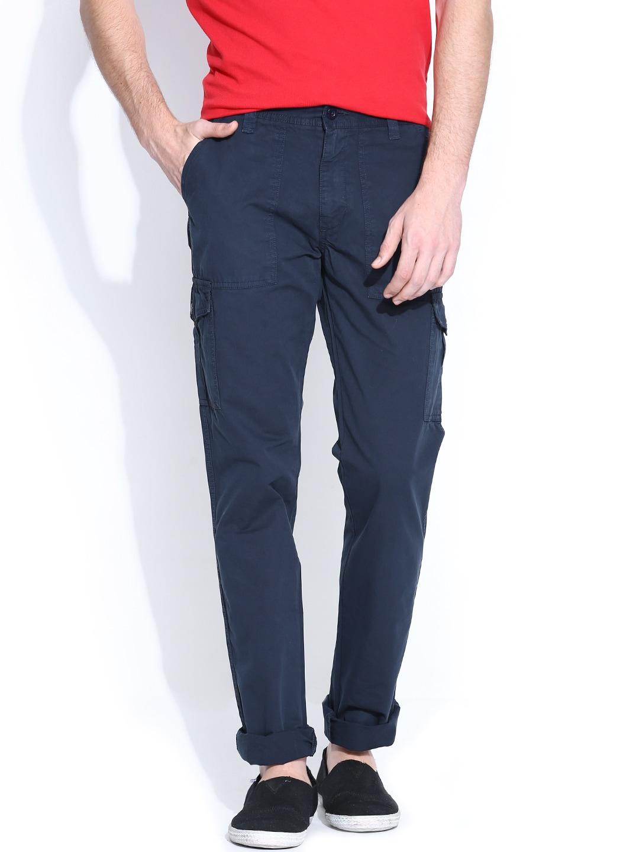 IZOD Men Navy Slim Fit Cargo Trousers