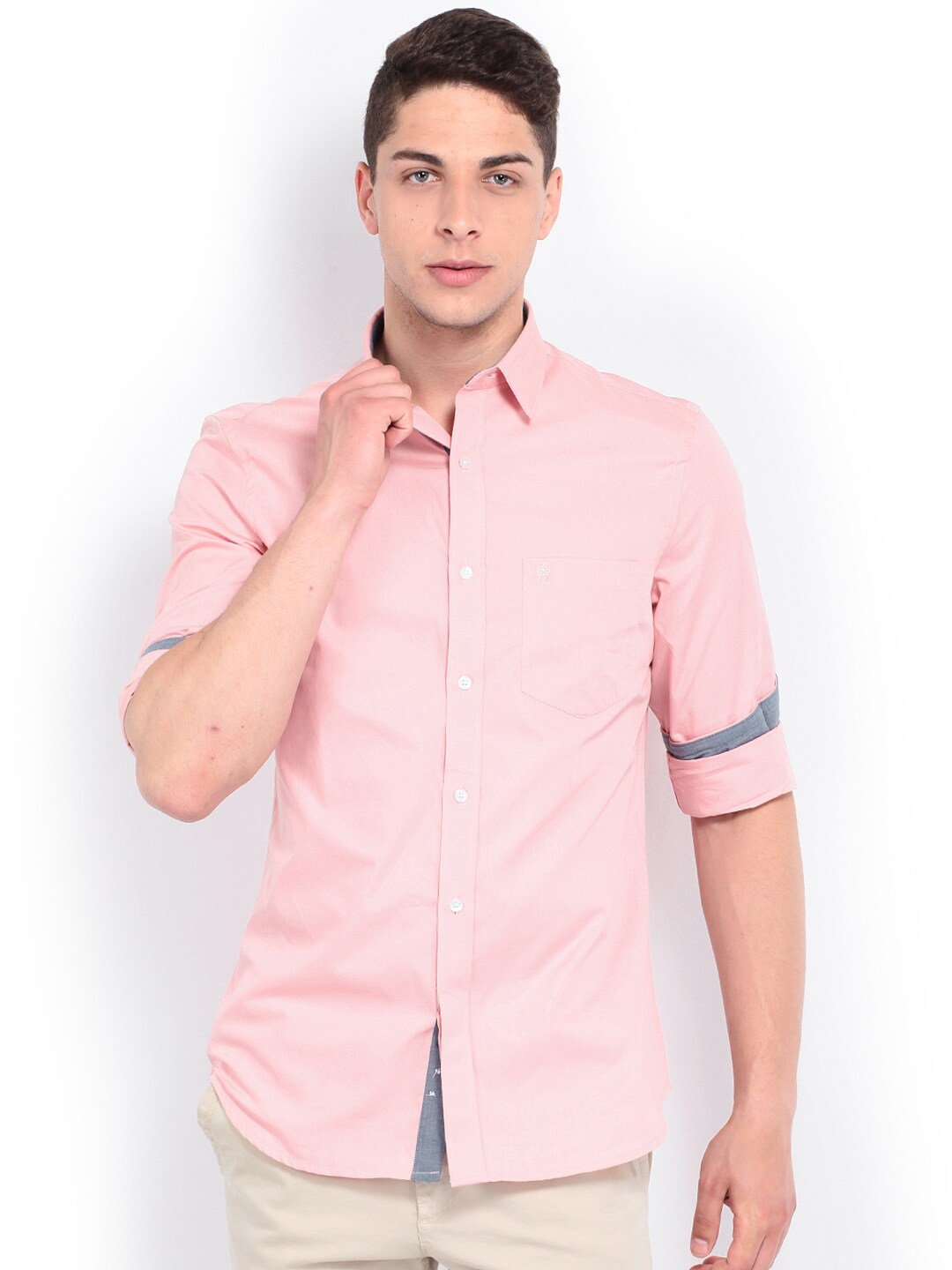 French Connection Men Pink Slim Fit Casual Shirt