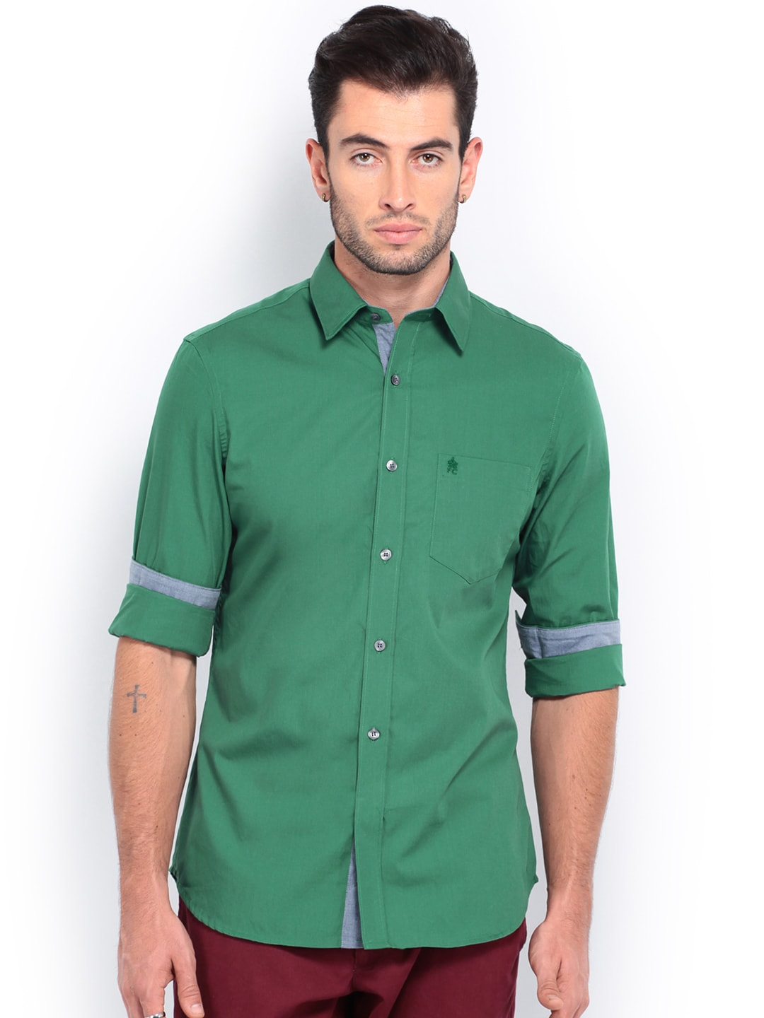 French Connection Men Green Slim Fit Casual Shirt