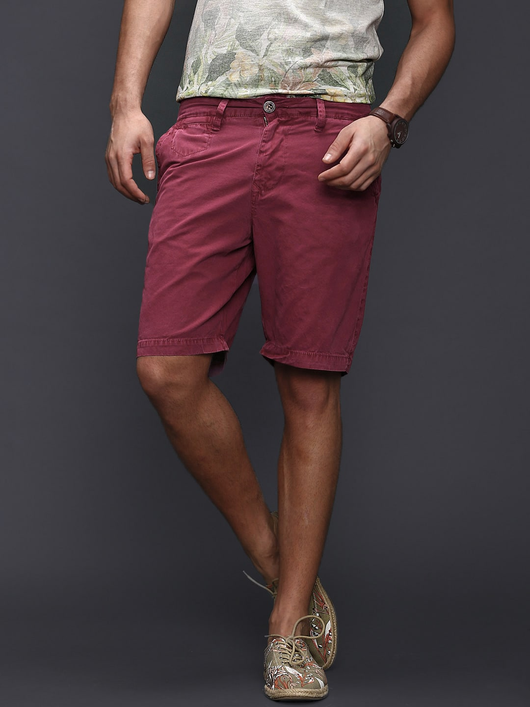Buy WROGN Men Coral Pink Overdyed Super Soft Shorts - Shorts for ...