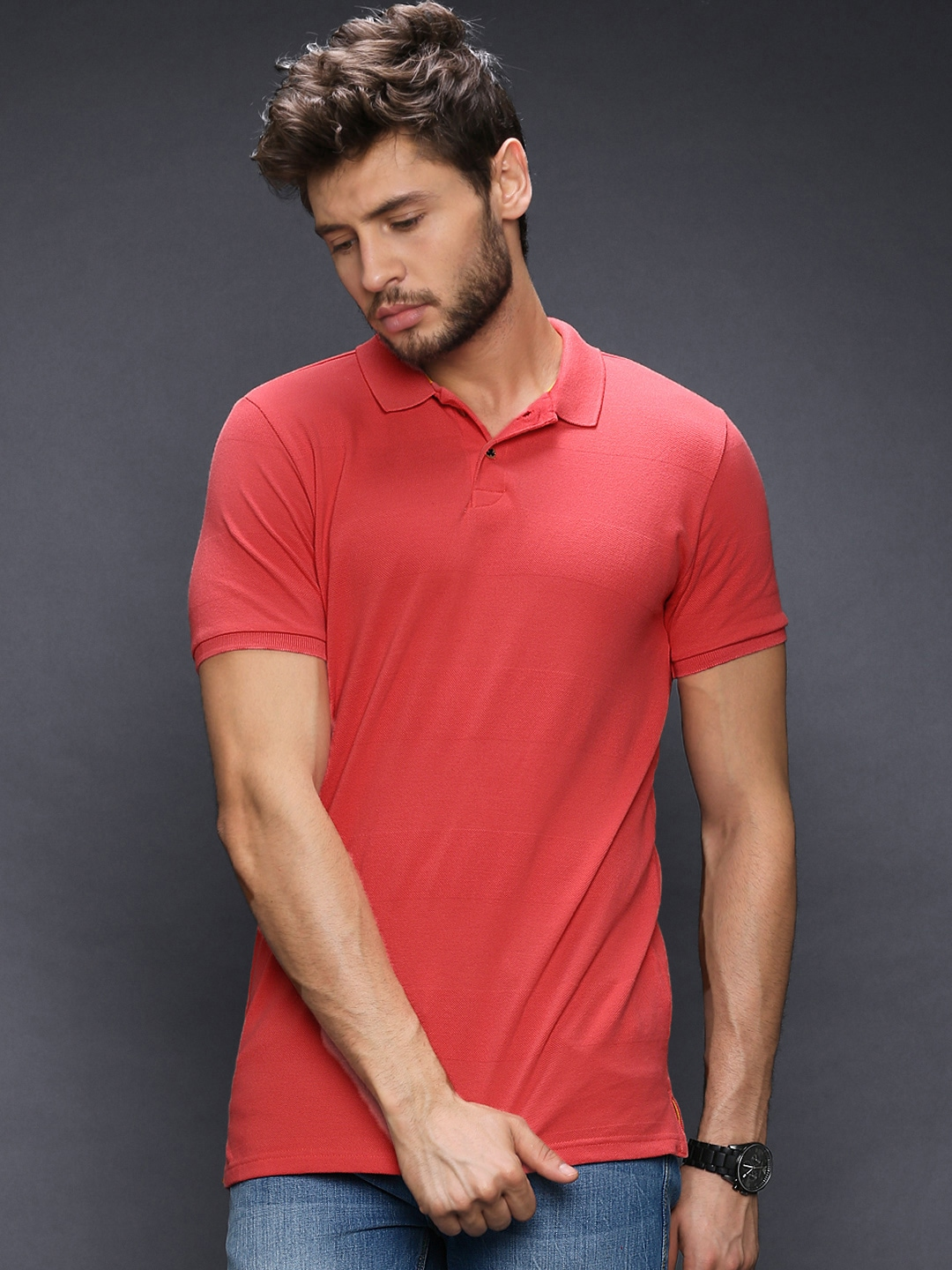 Buy Wrogn Men Coral Red Polo T Shirt 2 Apparel For Men