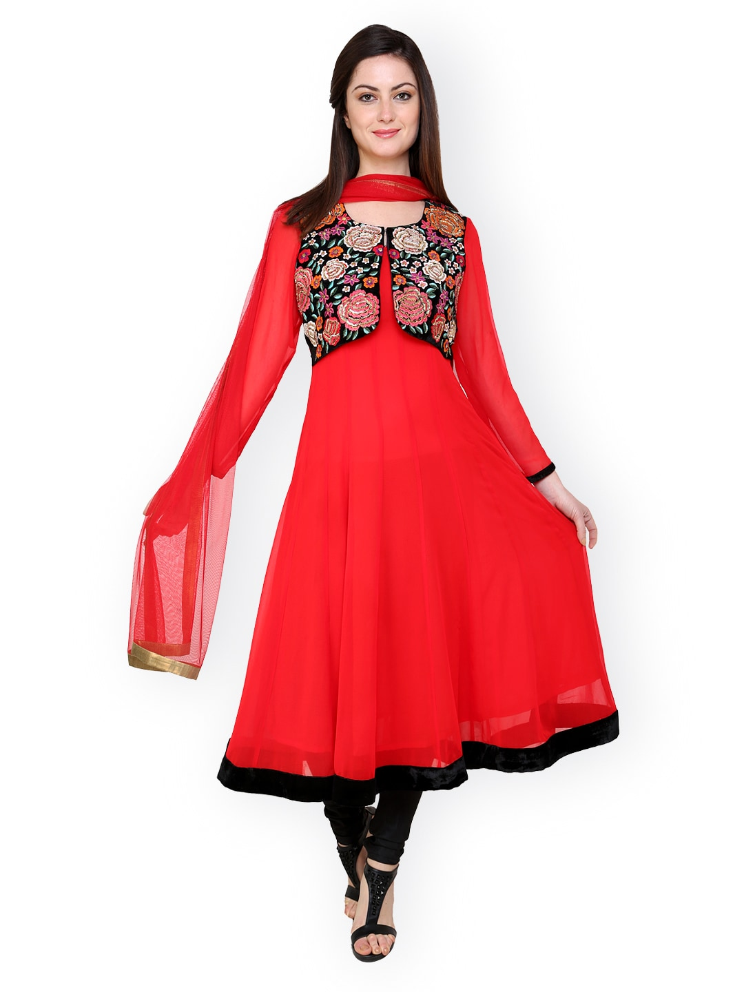 Red Vedikas Women Red Embroidered Churidar Kurta With Dupatta
