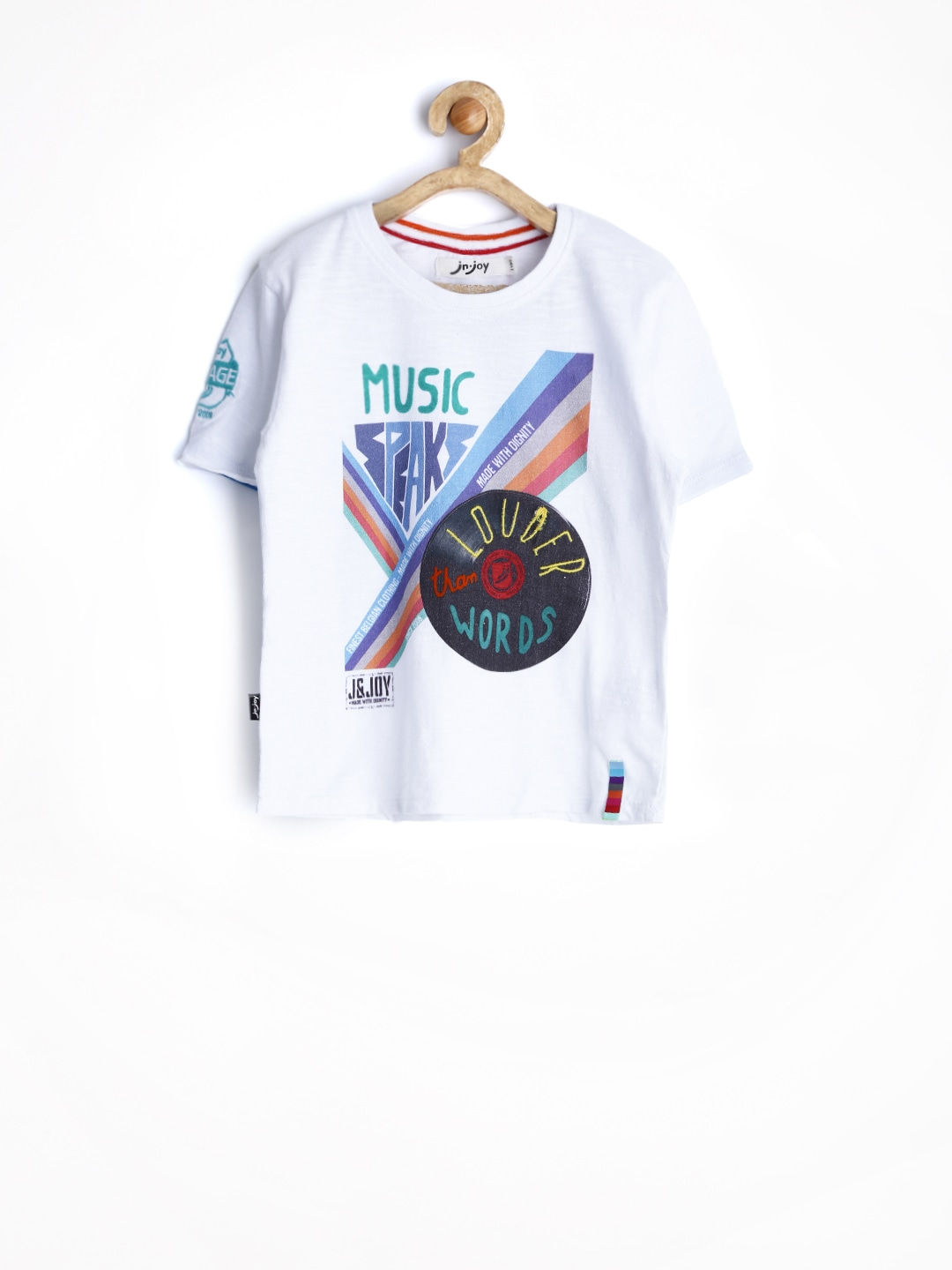 Jn Joy Boys White Printed T-shirt