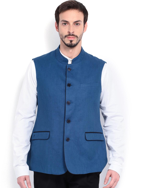 Van Heusen Men Blue Linen Slim Fit Waistcoat