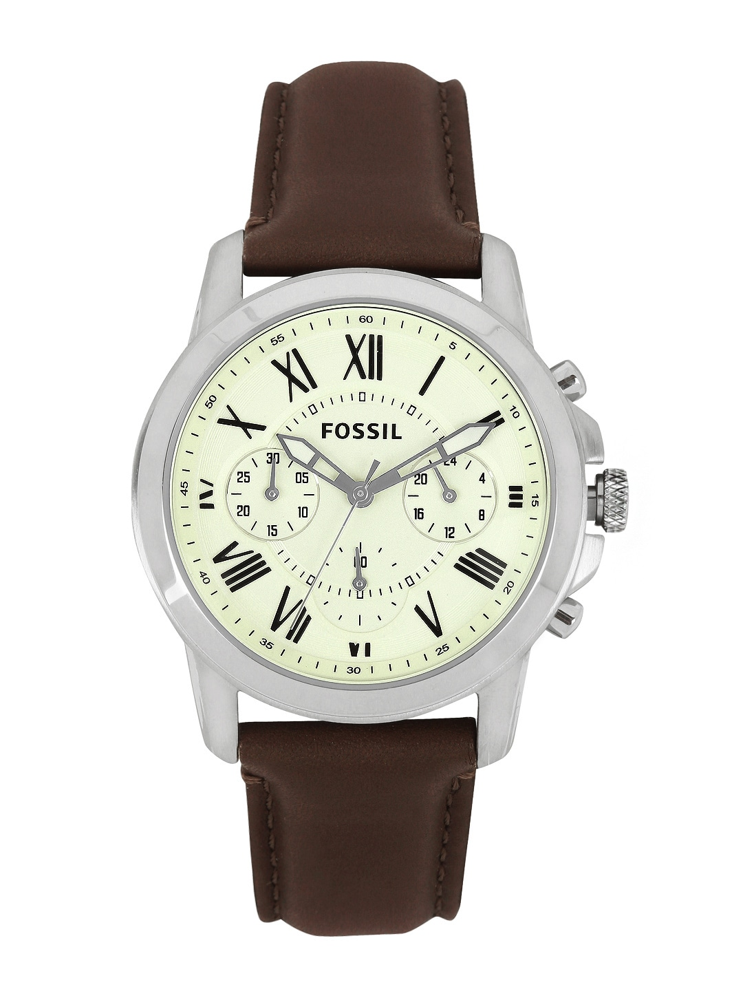 Fossil Men Cream-Coloured Dial Watch FS4839I