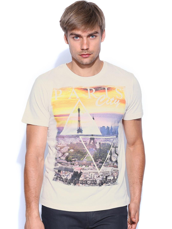 John Players Jeans Men Light Beige Melange Printed T-shirt