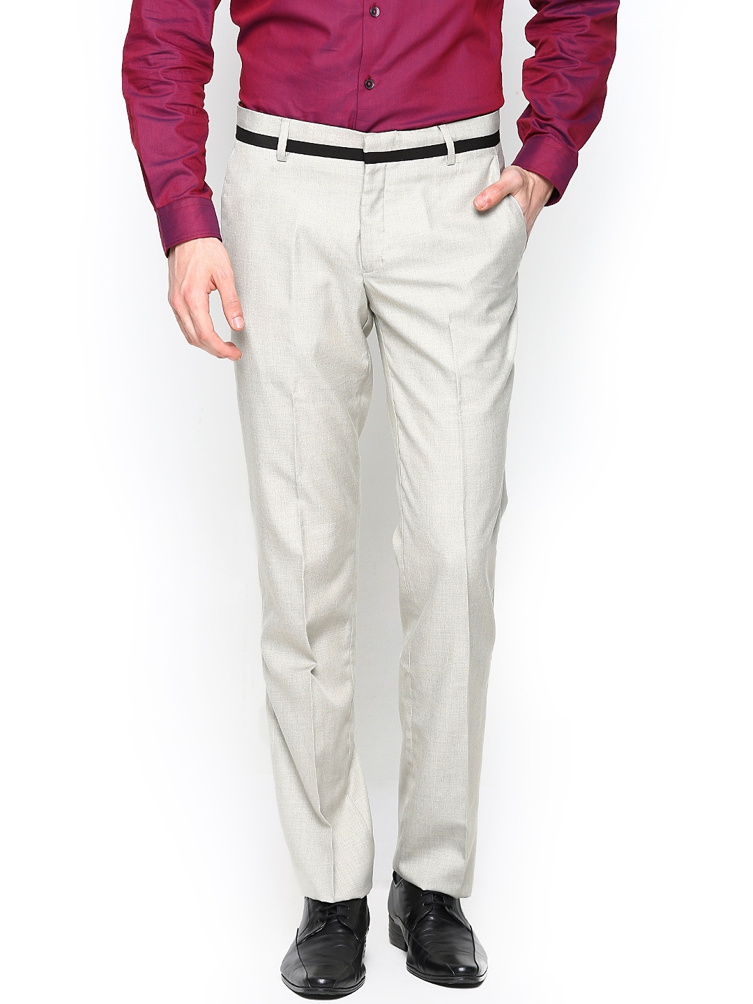 John Players Men Beige Slim Fit Formal Trousers