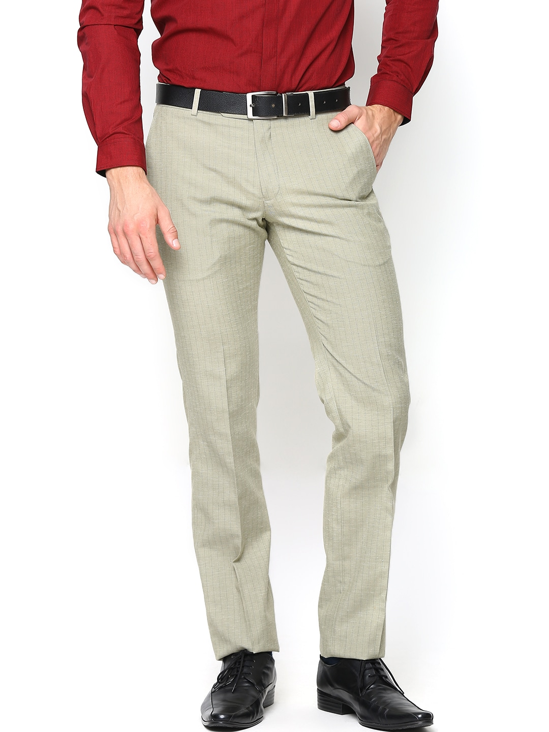 John Players Men Beige Linen Blend Slim Fit Semiformal Trousers