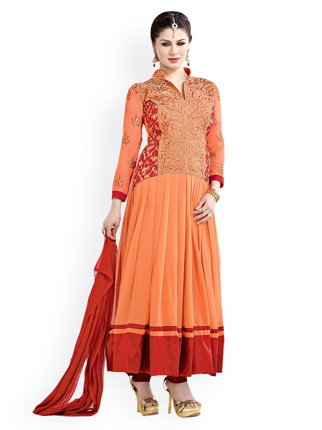 Lifestyle 7 Colors Life Style Orange & Maroon Georgette Semi-Stitched Anarkali Dress Material (Multicolor)