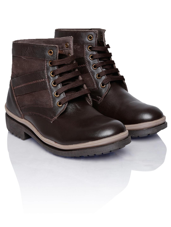 Numero Uno Men Dark Brown Leather Boots