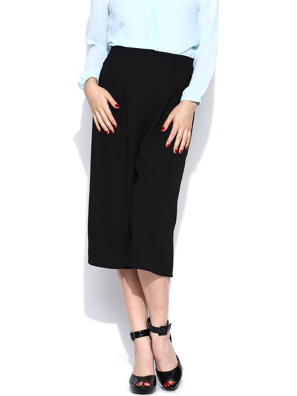 Vero Moda Women Black Cropped Palazzo Trousers