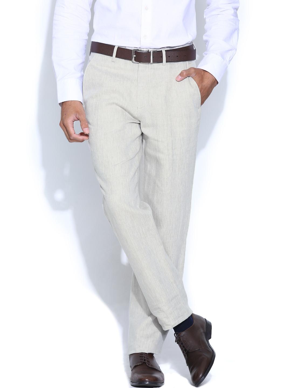 Peter England Men Beige Slim Fit Linen Smart Casual Trousers