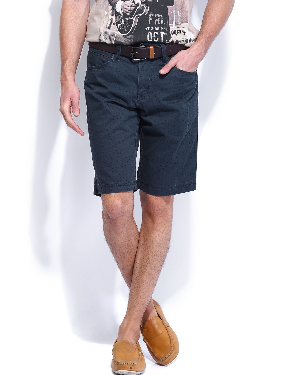 Celio Men Navy Printed Shorts