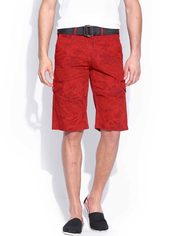 Celio Men Red Printed Cargo Shorts