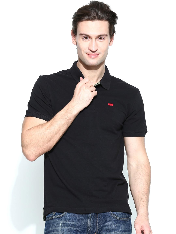 Buy levis black polo t shirt tshirts for men myntra for Mens black levi shirt