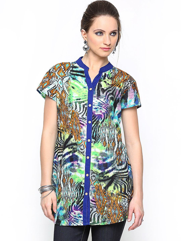 Rain & Rainbow Women Multicoloured Printed Tunic Shirt