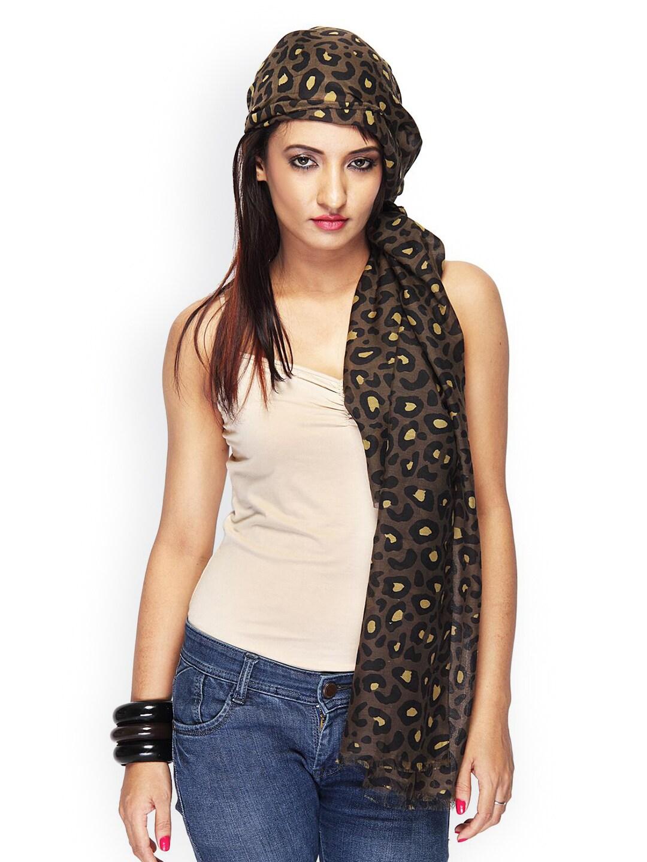 Citypret Women Brown Leopard Printed Scarf