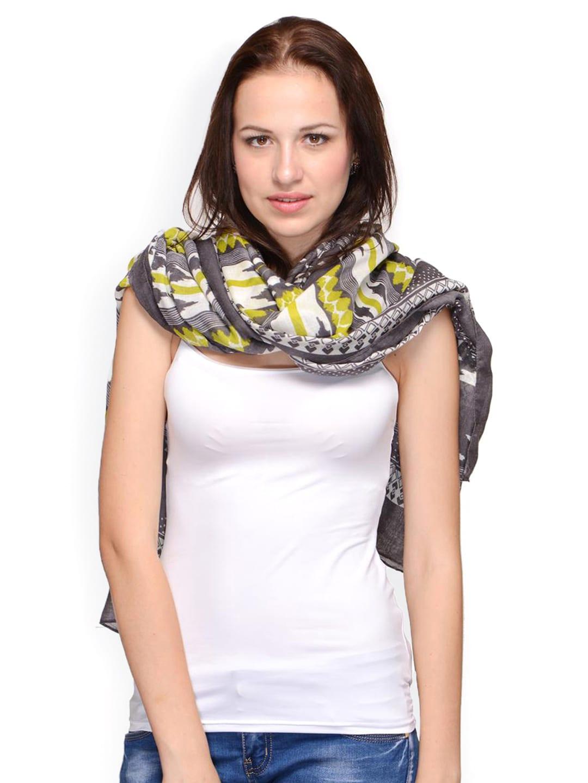 Citypret Women Grey & White Printed Scarf