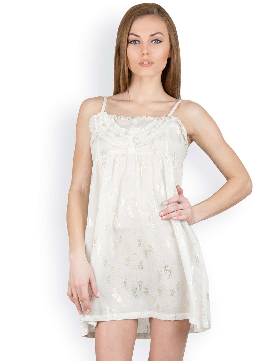 Citypret Off-White Baby-Doll Nightdress CP10193-L