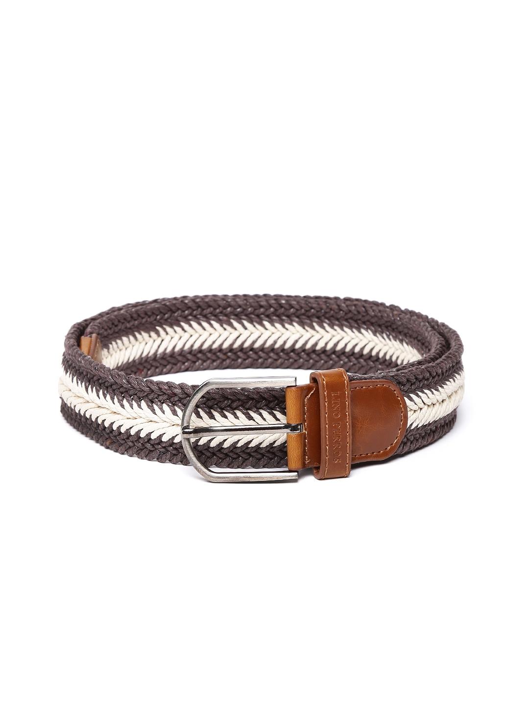 Lino Perros Men Coffee Brown & Off-White Belt