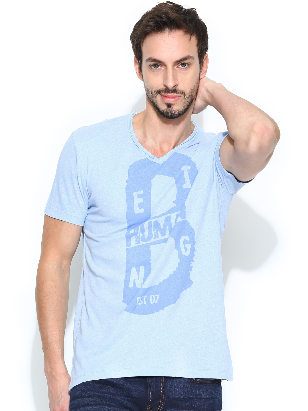 Buy being human clothing men blue printed t shirt for Being human t shirts buy online india