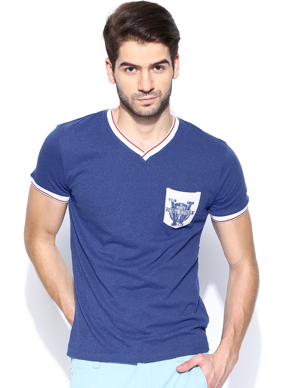 Buy being human clothing men blue t shirt tshirts for for Being human t shirts buy online india