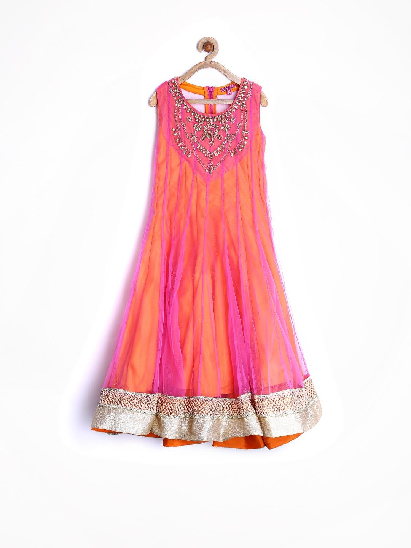 BIBA Girls Pink & Orange Anarkali Kurta