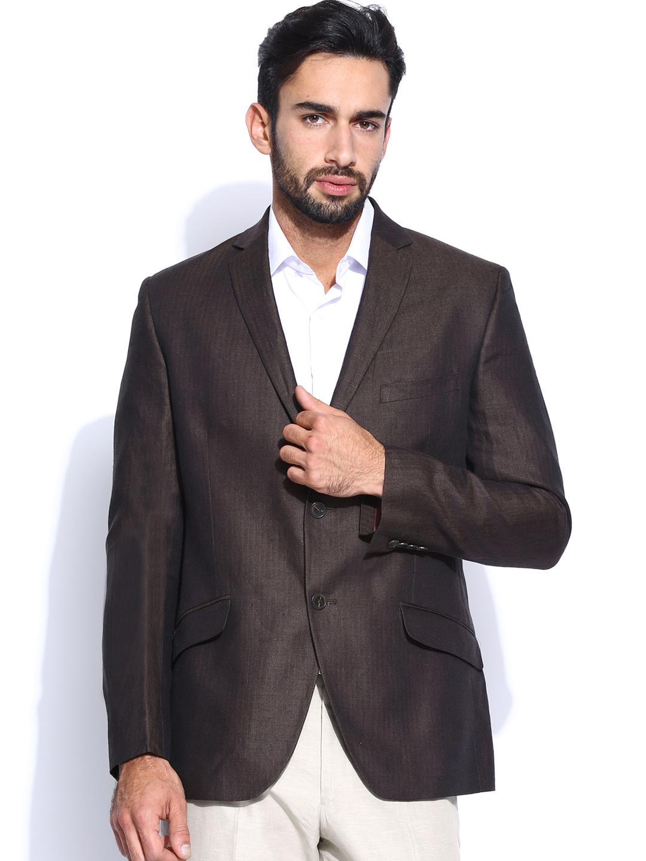 Theme Men Brown Linen Fitted Blazer