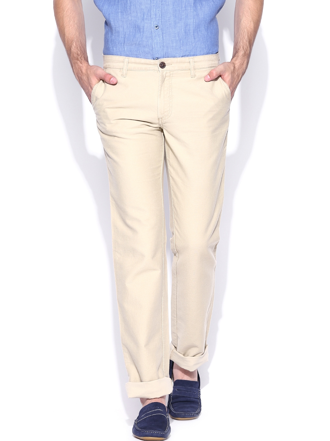 Indian Terrain Men Beige Kansas Fit Casual Trousers