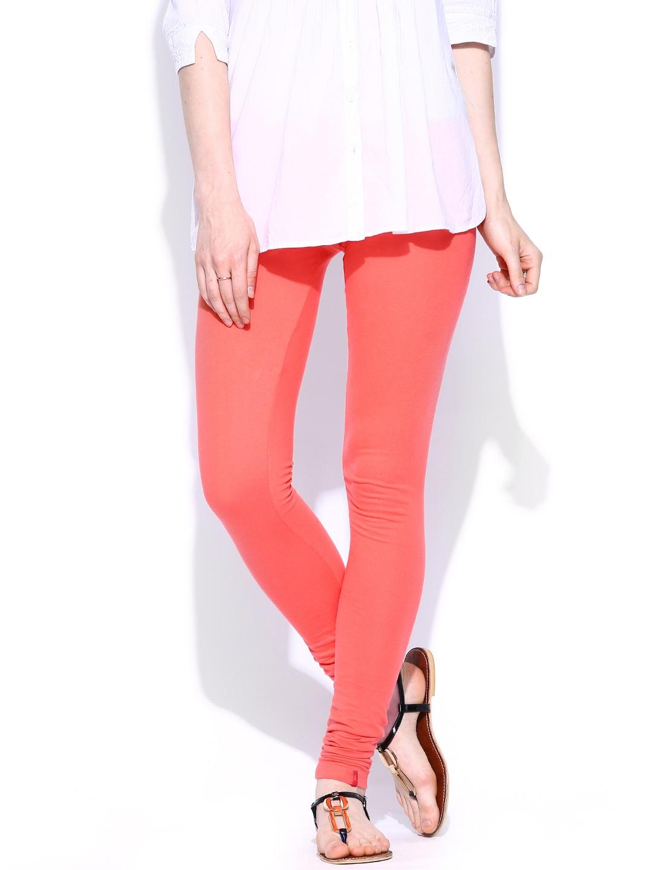 W Women Coral Pink Churidar Leggings