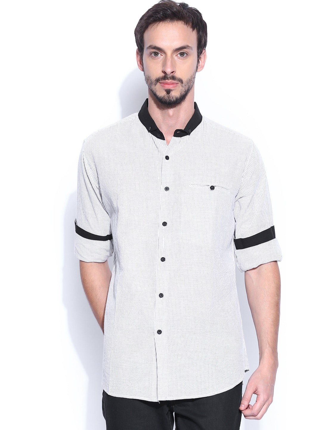 Fabindia Men Off-White & Black Striped Casual Shirt