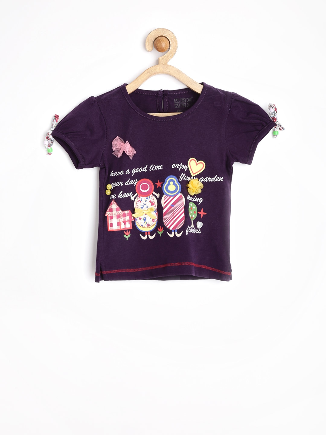 MeeMee Girls Purple Printed Top