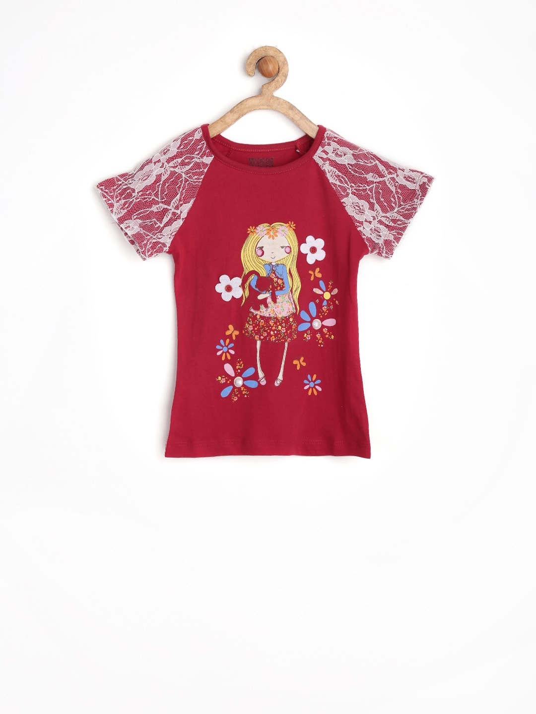 MeeMee Girls Red Printed Top