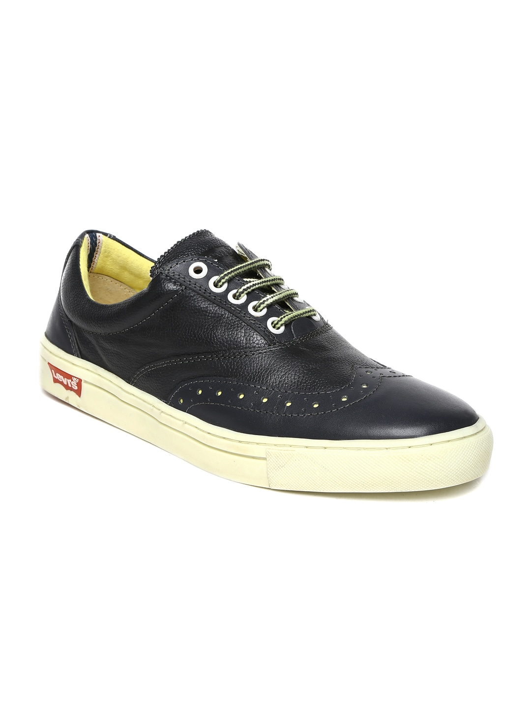 Levis Men Charcoal Grey Leather Casual Shoes