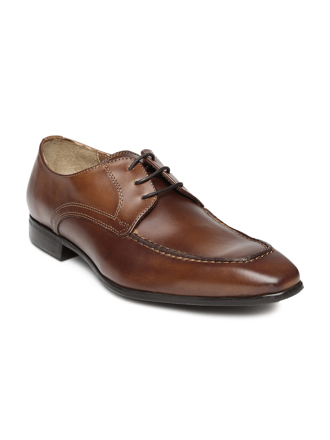 Ruosh Occasion Men Tan Brown Leather Derby Shoes