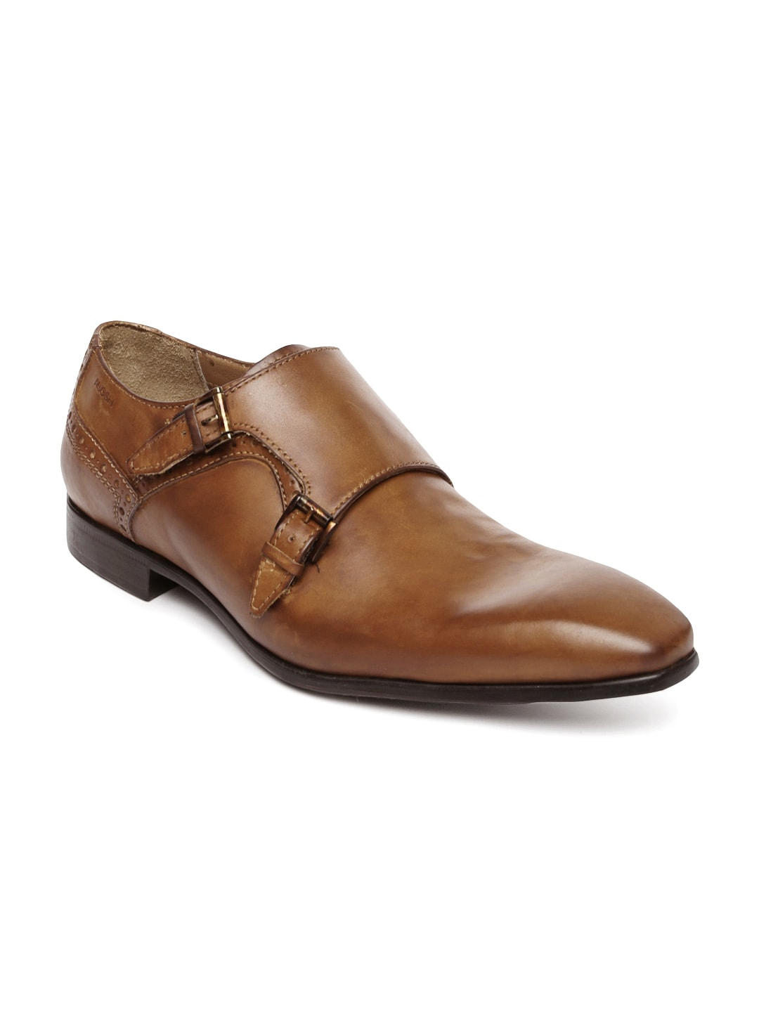 Ruosh Occasion Men Tan Brown Leather Monk Shoes