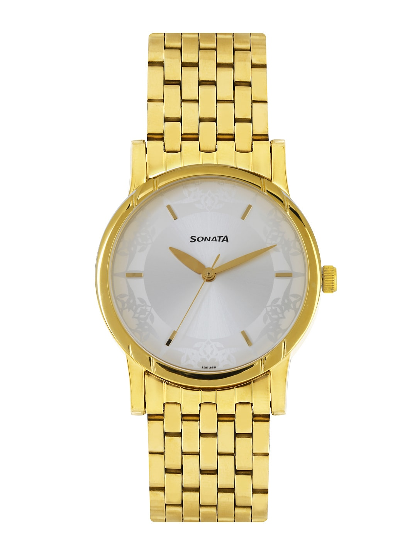 Sonata Men Silver-Toned Dial Watch 77031YM01J