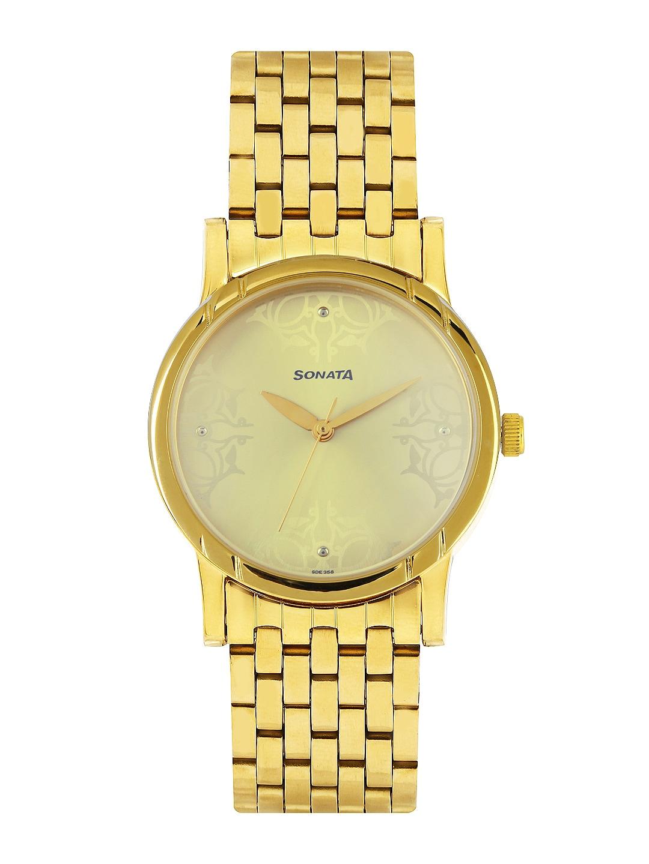 Sonata Men Gold-Toned Dial Watch 77031YM02J