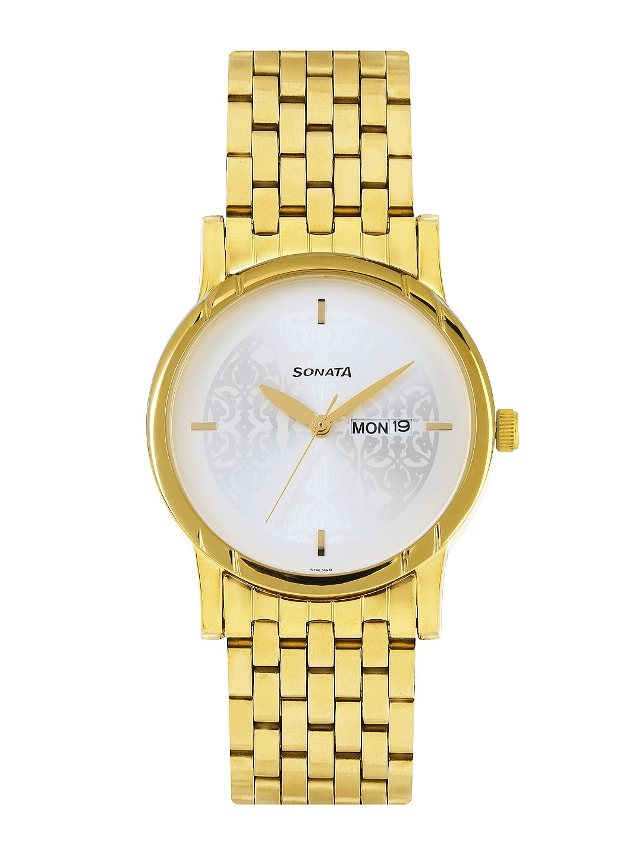 Sonata Men Silver-Toned Dial Watch 77031YM03J