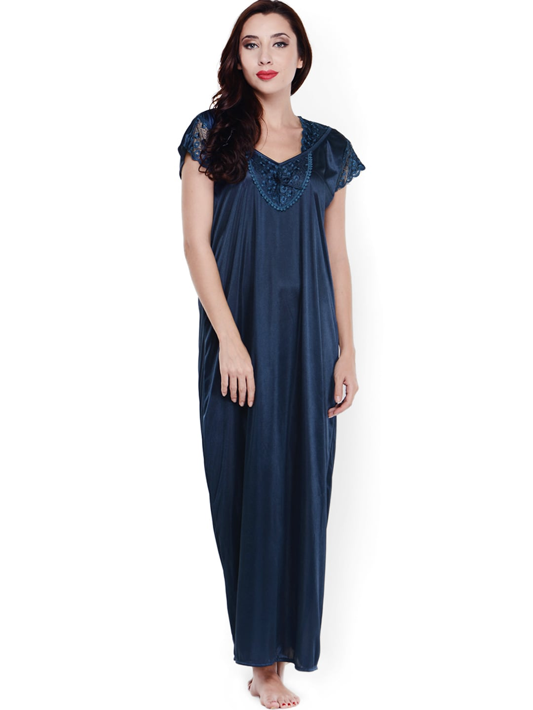 Klamotten Navy Satin Maxi Nightdress XX89